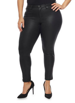Plus Size Coated Jeggings - 1961056570505