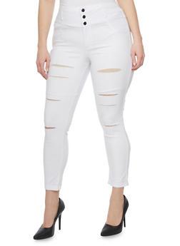 Plus Size High Waisted Slashed Denim Knit Pants - 1961056571129