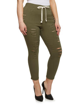 Plus Size Slashed Jeggings - 1961056571208