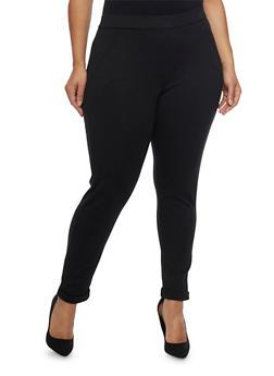 Plus Size Stretch Knit Pants - 1961056571212