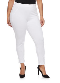 Plus Size Stretch Knit Pants - 1961056571212