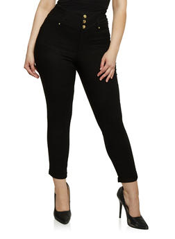 Plus Size Solid High Waisted Knit Pants - 1961056571226