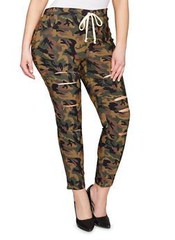 Plus Size Slashed Camo Pants - 1961056571288
