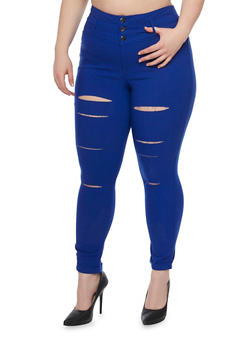 Plus Size Three Button Slashed Skinny Pants - 1961056571291