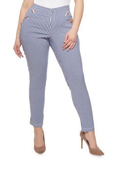 Plus Size Striped Sailor Pants - 1961056571400