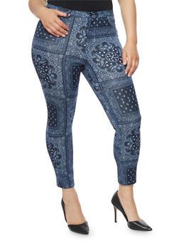 Plus Size Paisley Knit Pants - 1961056571935