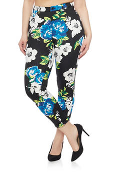 Plus Size Floral Print Scuba Knit Pants with Ankle Cuffs - 1961056572237