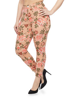 Plus Size Floral Print Knit Pants with Ankle Cuffs - 1961056572238