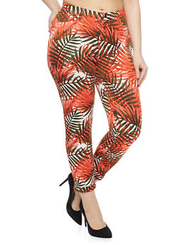 Plus Size Leaf Print Knit Pants with Ankle Cuffs - 1961056572241