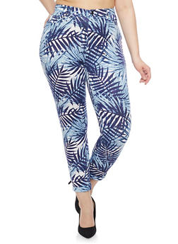 Plus Size Leaf Print Knit Pants with Ankle Cuffs - BLUE - 1961056572241