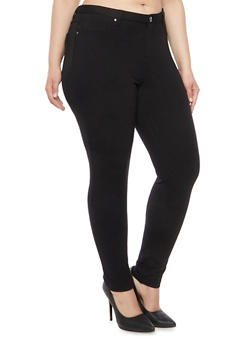 Plus Size Stretch Knit Jeggings - 1961056574017