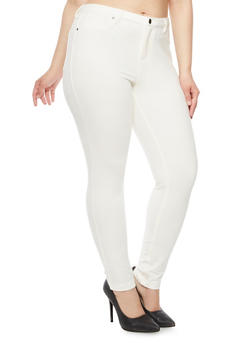 Plus Size Jeggings in Stretch Knit - WHITE - 1961056574017
