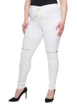 Plus Size Ruched Moto Joggers - WHITE - 1961056577021