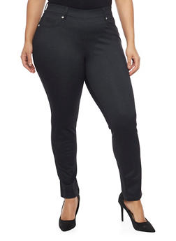 Plus Size Ponte Knit Pants with Pockets - 1961056577205