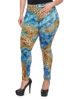 Plus Size Scuba Knit Pants With Denim Leopard Print Pattern - 1961056578110