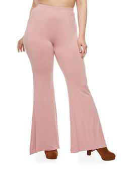 Plus Size Knit Pants with Flared Legs - 1961058930890