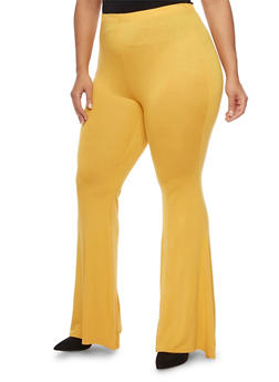 Plus Size Knit Pants with Flared Legs - MUSTARD - 1961058930890