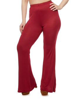 Plus Size Knit Pants with Flared Legs - BURGUNDY - 1961058930890