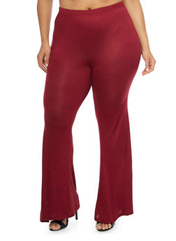 Plus Size Solid High Waisted Flared Pants - BURGUNDY - 1961058933030