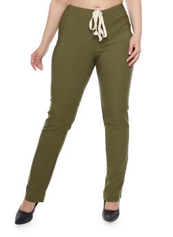 Plus Size Stretch Joggers with Drawstring - 1961058935544