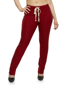 Plus Size Stretch Joggers with Drawstring - BURGUNDY - 1961058935544