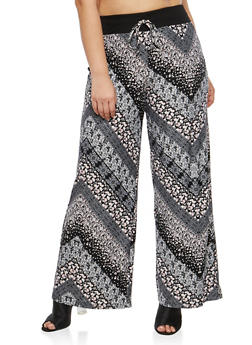Plus Size Mixed Floral Printed Palazzo Pants - 1961060580002