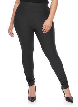 Plus Size High Waisted Ponte Knit Skinny Pants - CHARCOAL - 1961060580028
