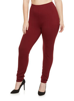 Plus Size High Waisted Ponte Knit Skinny Pants - 1961060580028