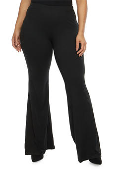 Plus Size Soft Knit Bell Bottom Pants - 1961060580250
