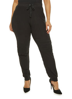 Plus Size Soft Knit Moto Detail Sweatpants - 1961060581252