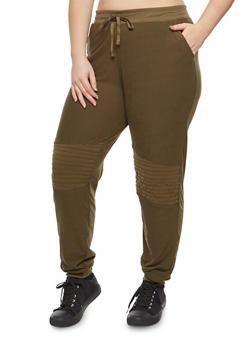 Plus Size Soft Knit Moto Detail Sweatpants - GREEN - 1961060581252