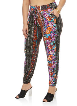 Plus Size Printed Soft Knit Joggers - 1961060582062