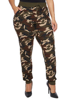 Plus Size Camo Joggers in Ribbed Knit - 1961060582374