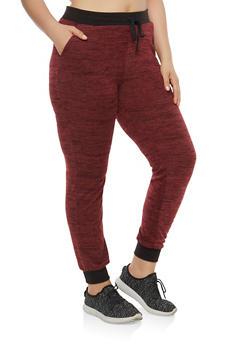 Plus Size Fleece Contrast Trim Sweatpants - 1961060582675