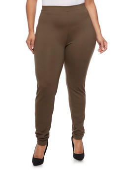 Plus Size Stretch Fabric Pants - 1961060582806