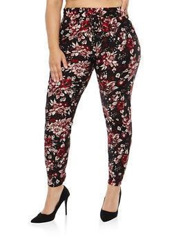 Plus Size Soft Knit Floral Joggers - 1961060582918
