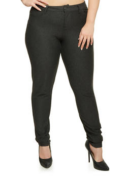Plus Size Stretch Knit Skinny Pants - 1961060584626