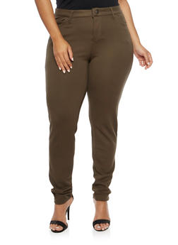 Plus Size Skinny Pants in Stretch Knit - OLIVE - 1961060584626