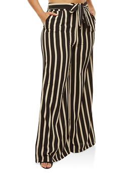 Plus Size Striped Tie Front Palazzo Pants - 1961062129600