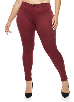 Plus Size Cuffed Knit Pants - 1961062701537