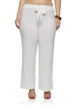 Plus Size Textured Knit Belted Palazzo Pants - 1961062706231