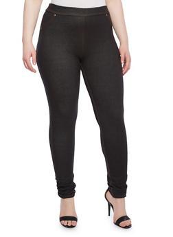 Plus Size Jeggings With Front Mock Pockets,BLACK,medium