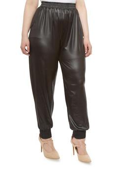 Plus Size Faux Leather Joggers,BLACK,medium
