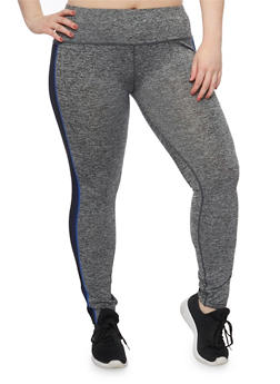 Plus Size Space Dye Activewear Leggings with Contrast Trim - 1961063403499