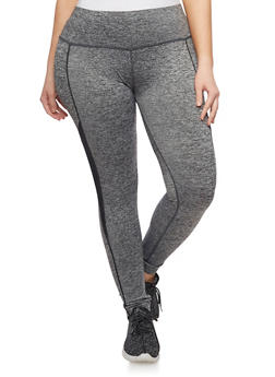 Plus Size Space Dye Activewear Leggings with Contrast Trim - 1961063403500