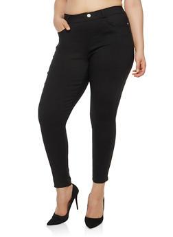 Plus Size Rhinestone Button Pants - 1961063406462
