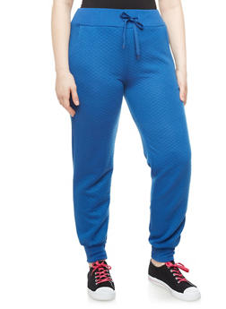Plus Size Two-Pocket Diamond Quilted Joggers With Drawstring,ROYAL,medium