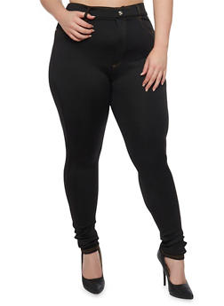 Plus Size High Waisted Crystal Button Jeggings - 1961072710763