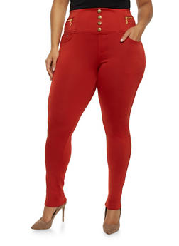 Plus Size High Waisted Skinny Pants with Zipper Accents - 1961072710901