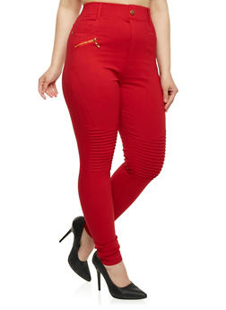 Plus Size Skinny Moto Pants - 1961072716773
